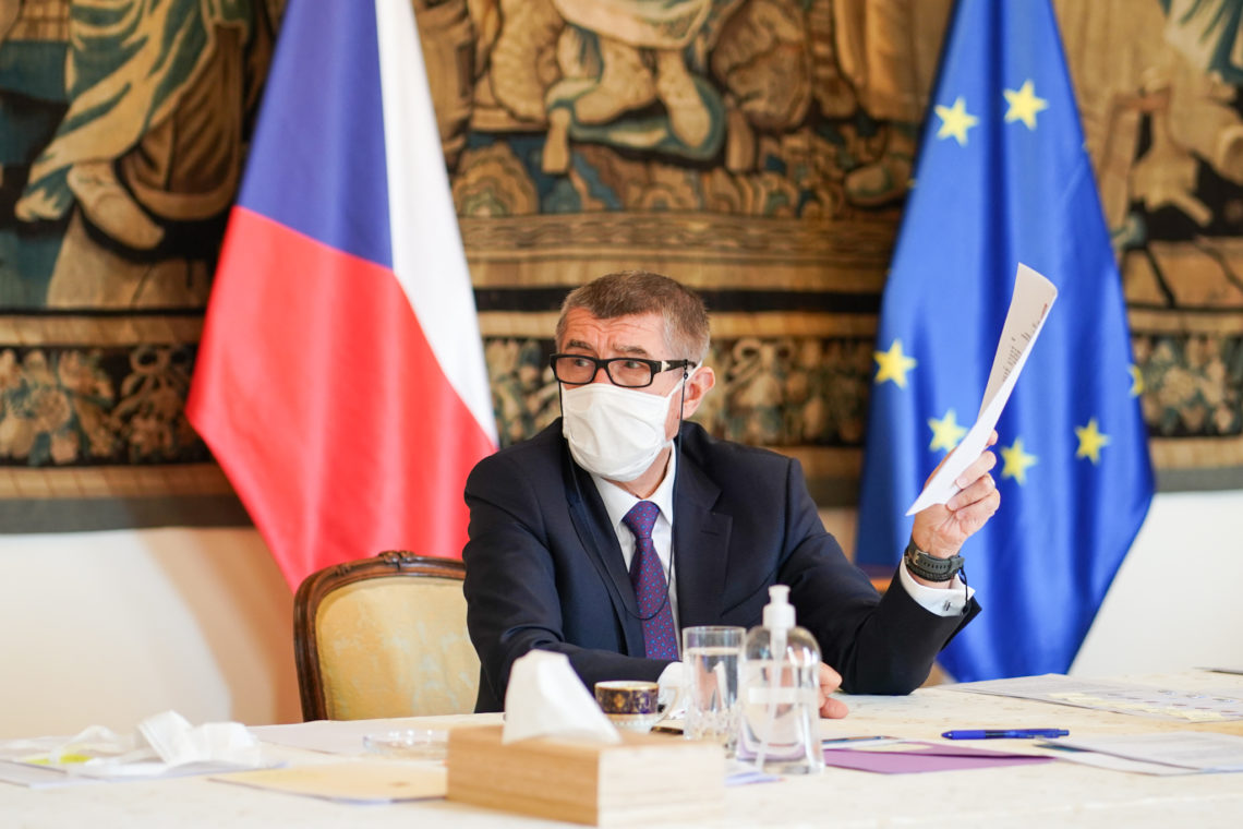 Prime Minister Andrej Babiš during the cabinet meeting, 9 April 2020.
